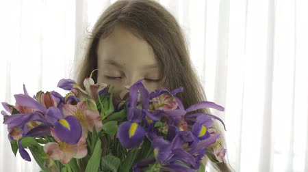 alstroemeria : Beautiful girl enjoys a bouquet of irises and alstroemeria. Stock Footage