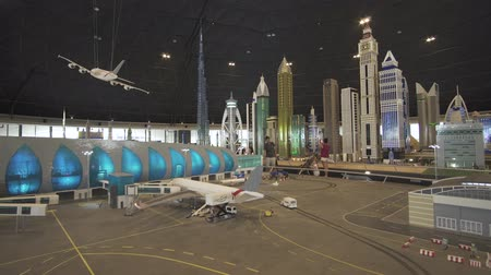 lego : Dubai, UAE - April 01, 2018: Exhibition of mock-ups Airport of Dubai made of Lego pieces in Miniland Legoland at Dubai Parks and Resorts stock footage video