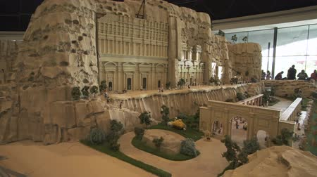 lego : Dubai, UAE - April 01, 2018: Exhibition of mock-ups Petra made of Lego pieces in Miniland Legoland at Dubai Parks and Resorts stock footage video