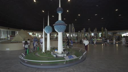lego : Dubai, UAE - April 01, 2018: Exhibition of mock-ups Kuwait Towers made of Lego pieces in Miniland Legoland at Dubai Parks and Resorts stock footage video