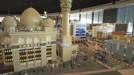 lego : Dubai, UAE - April 01, 2018: Exhibition of mock-ups Deira made of Lego pieces in Miniland Legoland at Dubai Parks and Resorts stock footage video