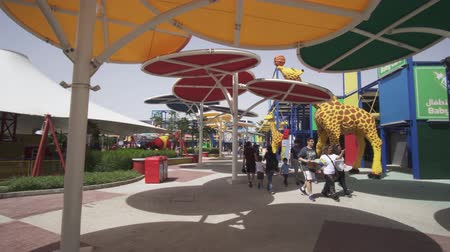 první : Dubai, UAE - April 01, 2018: Amusement and entertainment in the territory Imagination of Legoland at Dubai Parks and Resorts stock footage video