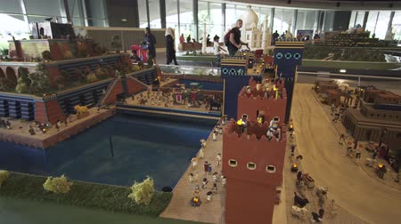 lego : Dubai, UAE - April 01, 2018: Exhibition of mock-ups of the most famous landmarks made of Lego pieces in Miniland Legoland at Dubai Parks and Resorts stock footage video