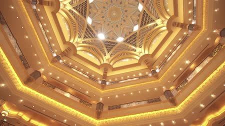 клетчатый : Abu Dhabi, UAE - April 04, 2018: Interior of Presidential Hotel Emirates Palace in Abu Dhabi stock footage video Стоковые видеозаписи