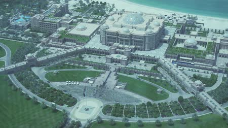 palmtree : Abu Dhabi, UAE - April 04, 2018: Presidential Hotel Emirates Palace in Abu Dhabi top view stock footage video Stock Footage