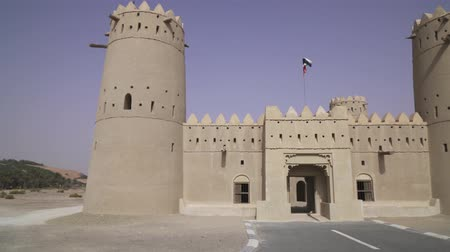 arap : Ancient fort in the desert of Liwa United Arab Emirates stock footage video Stok Video