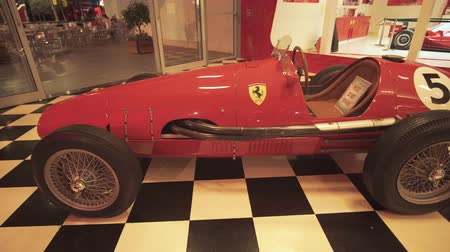 emirados : Abu Dhabi, UAE - April 04, 2018: Exhibition car in a theme park Ferrari World Abu Dhabi stock footage video