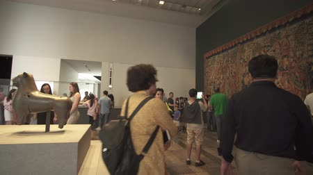 museum : Abu Dhabi, UAE - April 04, 2018: People looking at exhibits in the new Louvre Museum in Abu Dhabi stock footage video