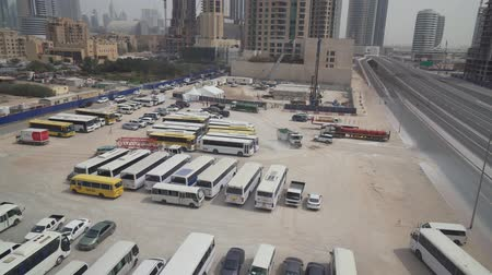 khalifa : Dubai, UAE - April 07, 2018: Public Transport Parking in Downtown Dubai stock footage video