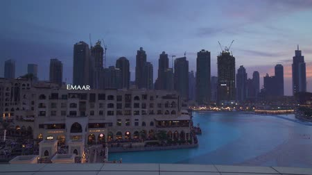 khalifa : Dubai, UAE - April 08, 2018: Modern architecture Downtown Dubai around the Burj Khalifa Lake at sunset stock footage video
