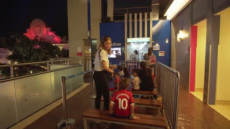 largest city : Dubai, UAE - April 08, 2018: KidZania Dubai provides children and their parents a safe and very realistic educational environment at Dubai Mall stock footage video Stock Footage