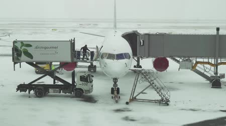 фюзеляж : Astana, Kazakhstan - March 30, 2018: Service of the aircraft preparation for flight at a snowy aerodrome of Astana International Airport stock footage video Стоковые видеозаписи