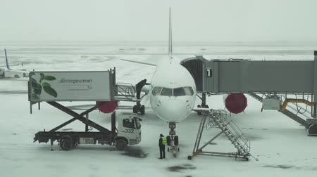 astana : Astana, Kazakhstan - March 30, 2018: Service of the aircraft preparation for flight at a snowy aerodrome of Astana International Airport stock footage video Stock Footage
