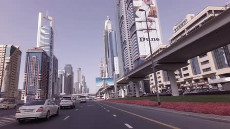khalifa : Dubai, UAE - April 08, 2018: Day traffic on the Sheikh Zayed Road stock footage video