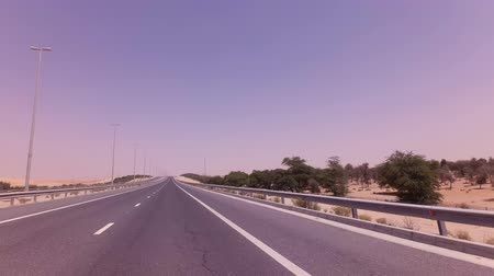vaha : Road from Oasis Liwa to Abu Dhabi stock footage video