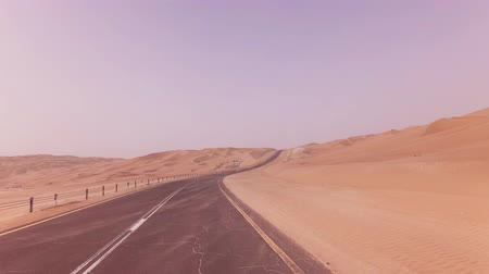 tarmac : New road from Oasis Liwa to the Moreeb Dune in Rub al Khali desert stock footage video