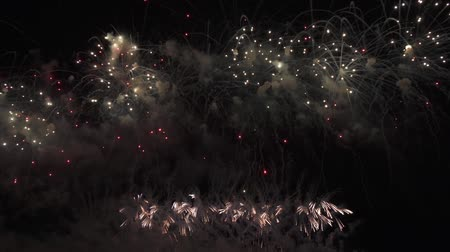 placeholder : Beautiful colorful fireworks display for celebration on the black background, New year holiday concept stock footage video