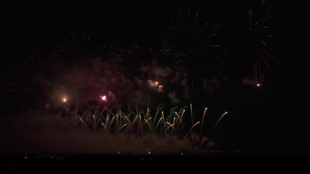 placeholder : Colorful fireworks on the black sky background stock footage video