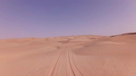vaha : Traveling on an off-road car on the sand of the Rub al Khali desert stock footage video