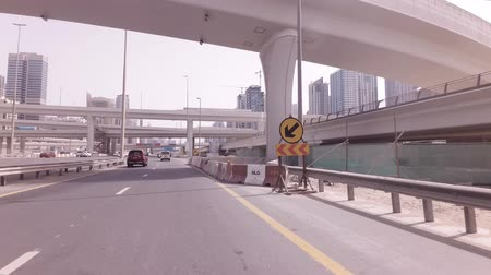 side road : Dubai, UAE - April 04, 2018: Modern multi-level road junctions in Dubai stock footage video