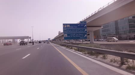 Dubai, UAE - April 04, 2018: Salik system of collection of payments for fare on toll sections of the motorways of the emirate of Dubai stock footage video Стоковые видеозаписи