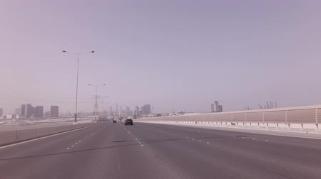 Abu Dhabi, UAE - April 03, 2018: Road from the artificial islands to the Abu Dhabi stock footage video