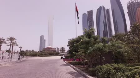 Abu Dhabi, UAE - April 04, 2018: Car trip around the hotel Emirates Palace in Abu Dhabi stock footage video