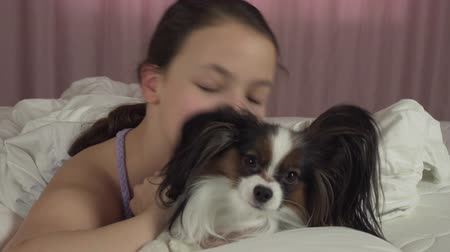 obediente : Happy teen girl kisses and plays with dog Papillon in the bed stock footage video