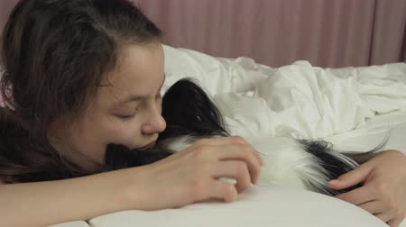 spanyel : Happy teen girl kisses and plays with dog Papillon in the bed stock footage video