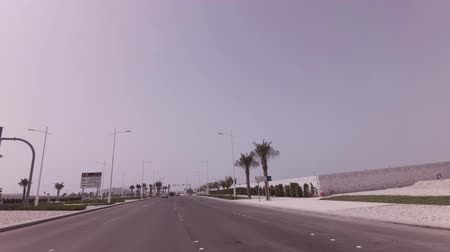 Abu Dhabi, UAE - April 04, 2018: Car trip to the Louvre Abu Dhabi stock footage video