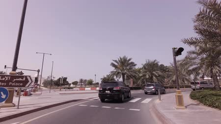 Abu Dhabi, UAE - April 04, 2018: Car trip near the hotel Emirates Palace in Abu Dhabi stock footage video