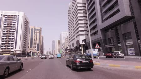 Abu Dhabi, UAE - April 04, 2018: Car trip near the skyscrapers in Abu Dhabi stock footage video 影像素材