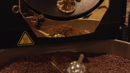 Dark and aromatic coffee beans in a modern roasting machine stock footage video