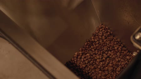 roaster : Dark and aromatic coffee beans in a modern roasting machine stock footage video