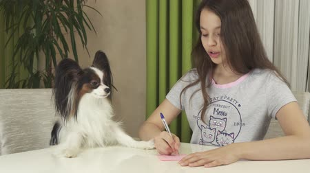Girl teenager and dog Papillon guess on desires, writes desire to pieces of paper stock footage video