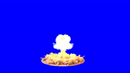 houba : 4K impressive huge explosion Mushroom cloud isolated on blue