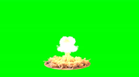 judgment day : 4K impressive huge explosion Mushroom cloud isolated on green