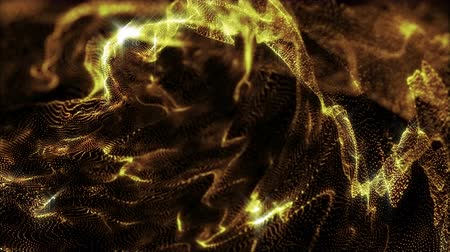 black yellow : 4k Abstract gold particle on black Stock Footage