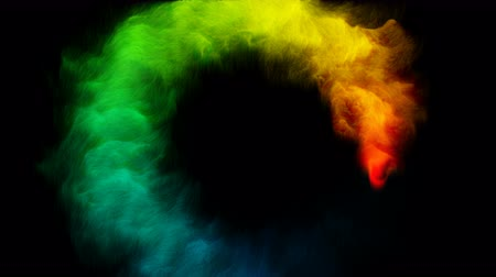 yellow ink : Rainbow color smoke flowing in a circle black.