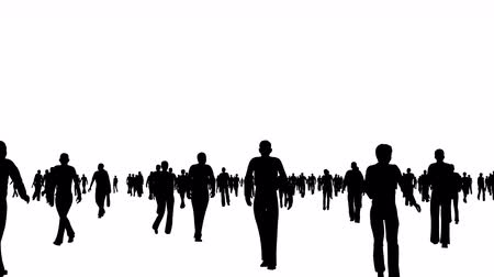 life energy : Crowd of silhouettes people moves on white Stock Footage
