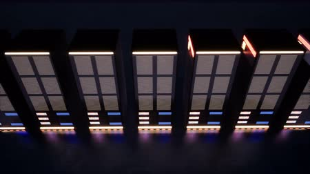 network server : A huge data center with servers in a dark room