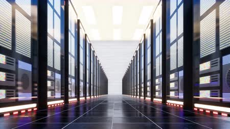 hdd : Data center with servers in a large room Stock Footage