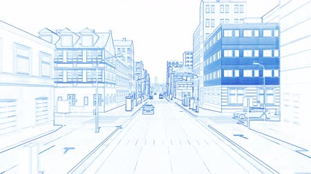 Бен : Blue drawing a big city Стоковые видеозаписи