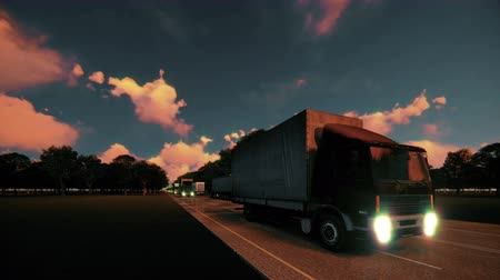 locomotion : Cargo delivery by large trucks Stock Footage