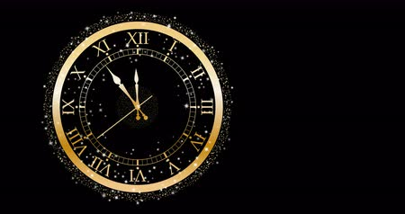 final round : Gold clock on black Stock Footage