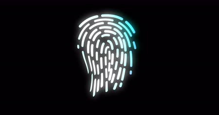 impressão digital : Ffuturistic digital processing of biometric Animation of fingerprint black. security scanning Stock Footage