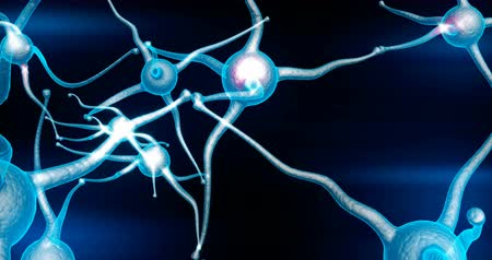 bonyolultság : Blue Neuron synapse network with red electric impulse activity able to loop Stock mozgókép