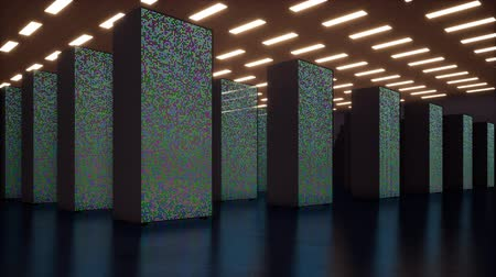 deep learning : IT Conceptual Representation of Digitization of Information Flow Through Rack Servers in Data Center. Stock Footage