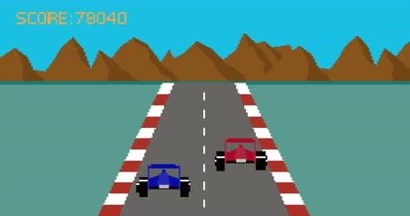 opção : Retro pixel art style race car video game