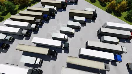 sobre o branco : Aerial Top View of Semi Truck with Cargo Trailer Parking with Other Trucks on Special Parking Lot.